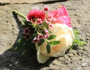Rose and waxflower buttonhole, wired and taped - no bare stems